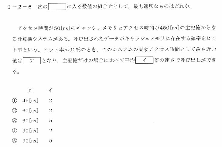 令和2年度技術士第一次試験問題[基礎科目:情報・論理]1-2-6